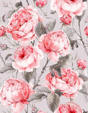 클래식 빈티지 꽃 원활한 패턴, 영어 장미의 수채화 꽃다발, 아름다운 수채화 그림