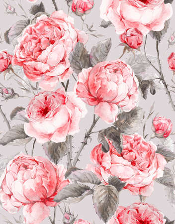 flower rose: Classical vintage floral seamless pattern, watercolor bouquet of English roses, beautiful watercolor illustration
