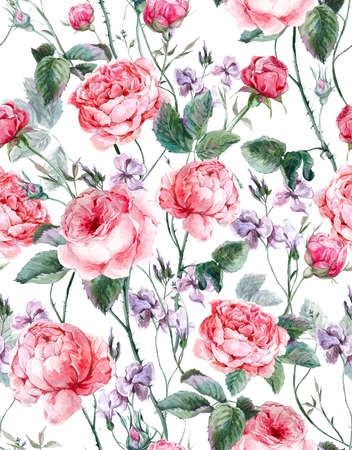 Classical vintage floral seamless pattern, watercolor bouquet of English roses and wildflowers, beautiful watercolor illustration Stok Fotoğraf - 43009948
