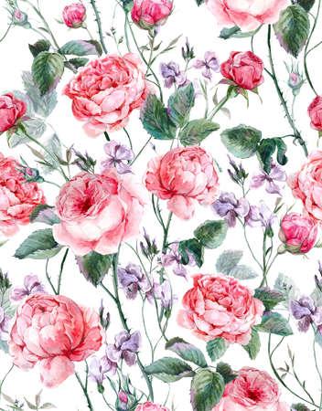 Patrón clásico de la vendimia floral transparente, ramo de la acuarela de rosas y flores silvestres en inglés, hermoso ejemplo de la acuarela Foto de archivo - 43009948