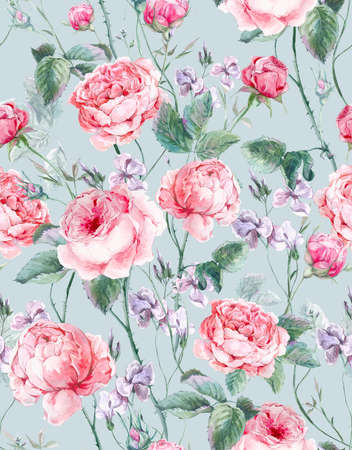 background flower: Classical vintage floral seamless pattern, watercolor bouquet of English roses and wildflowers, beautiful watercolor illustration