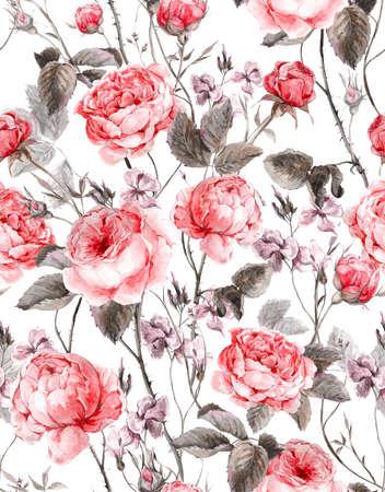 složení: Klasické vintage květinový vzor bezešvé, akvarel kytice anglických růží a květin, krásné akvarel ilustrační