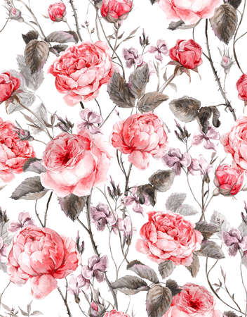 Classical vintage floral seamless pattern, watercolor bouquet of English roses and wildflowers, beautiful watercolor illustration