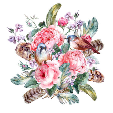 Classical watercolor floral vintage greeting card with rose birds and feathers , watercolor illustration