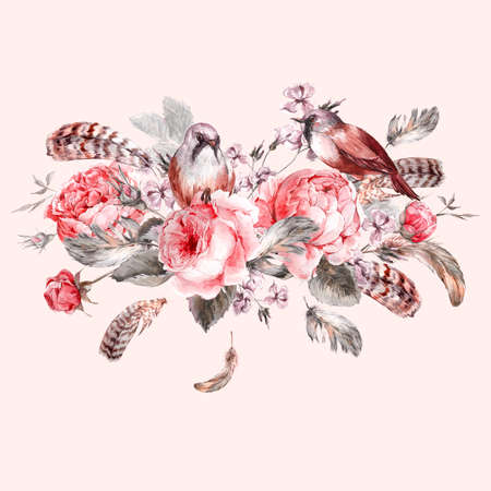 retro flowers: Classical watercolor floral vintage greeting card with rose birds and feathers, watercolor illustration Stock Photo