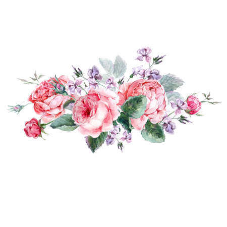 Classical vintage floral greeting card, watercolor bouquet of English roses, beautiful watercolor illustration 写真素材