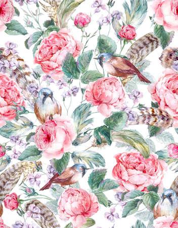 Aquarelle floral seamless vintage avec des roses oiseaux et de plumes, illustration d'aquarelle
