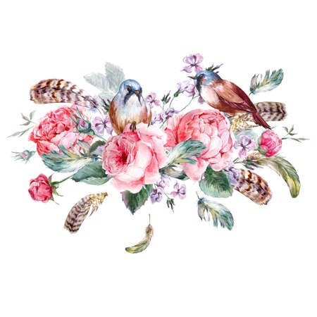 birds: Classical watercolor floral vintage greeting card with rose birds and feathers, watercolor illustration Stock Photo