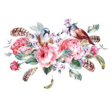 Klassieke aquarel bloemen vintage wenskaart met roze vogels en veren, aquarel illustratie Stockfoto
