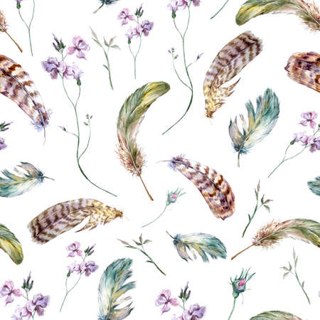 Watercolor floral vintage seamless pattern with feathers, watercolor illustration Archivio Fotografico