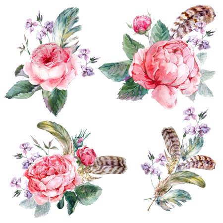 pluma: Establecer ramo acuarela del vintage de rosas plumas y flores silvestres, ejemplo de la acuarela aislado en fondo blanco