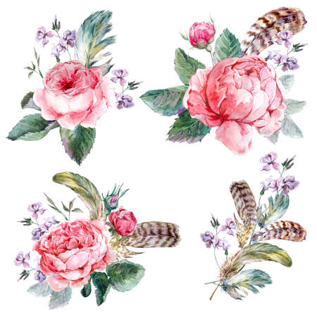 Set vintage watercolor bouquet of roses feathers and wildflowers, watercolor illustration isolated on white background Stock Photo