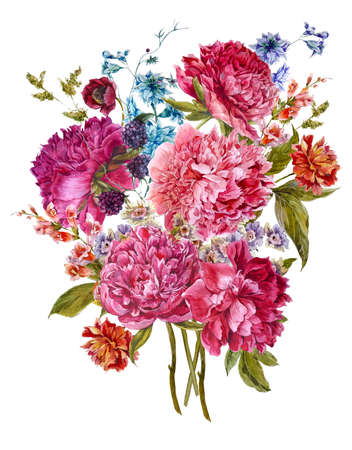 burgundy background: Gentle Summer Floral Bouquet with Burgundy Peonies, Hyacinths, Blackberry and Wild Flowers in Vintage Style, Botanical Greeting Card, Watercolor illustration on white Background.
