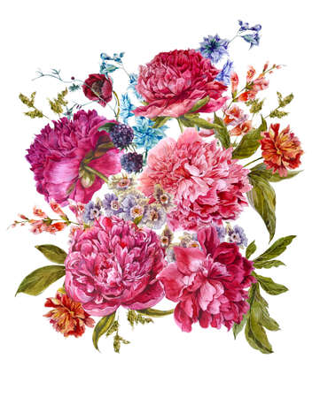chic: Gentle Summer Floral Bouquet with Burgundy Peonies, Hyacinths, Blackberry and Wild Flowers in Vintage Style, Botanical Greeting Card, Watercolor illustration on white Background.