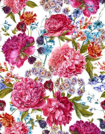 anniversario matrimonio: Gentle estate Floral seamless con peonie Borgogna, giacinti, Blackberry e fiori selvatici in stile vintage, botanico Greeting Card, illustrazione Acquerello su sfondo bianco.