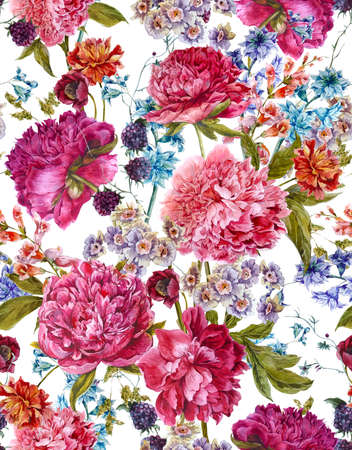 aniversario de boda: Patrón suave verano floral sin fisuras con las Peonías Borgoña, jacintos, Blackberry y flores silvestres en estilo vintage, tarjeta de felicitación botánico, ejemplo de la acuarela en el fondo blanco. Foto de archivo