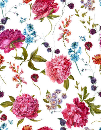 Gentle Summer Floral Seamless Pattern with Burgundy Peonies, Hyacinths, Blackberry and Wild Flowers in Vintage Style, Botanical Greeting Card, Watercolor illustration on white Background.