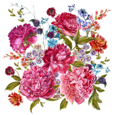 Gentle Summer Floral Bouquet with Burgundy Peonies, Hyacinths, Blackberry and Wild Flowers in Vintage Style, Botanical Greeting Card, Watercolor illustration on white Background.