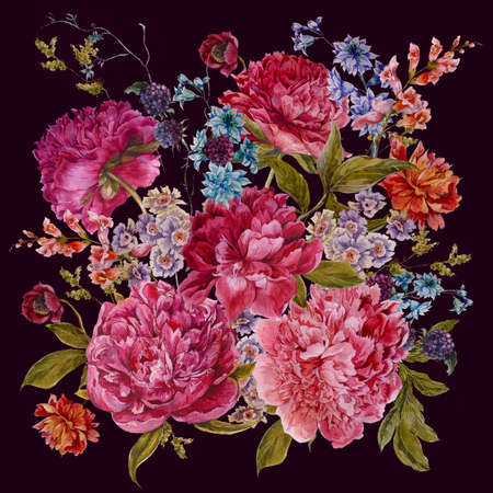 Gentle Summer Floral Bouquet with Burgundy Peonies, Hyacinths, Blackberry and Wild Flowers in Vintage Style, Botanical Greeting Card, Watercolor illustration on dark Background.