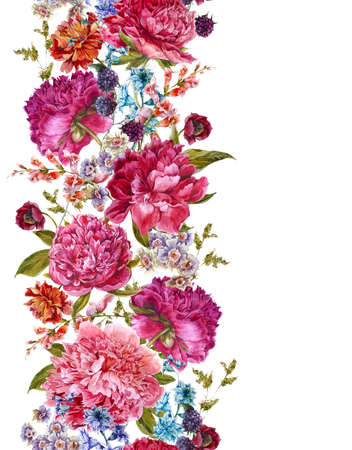 botanical: Floral Seamless Watercolor Border with Burgundy Peonies, Hyacinths, Blackberry and Wild Flowers in Vintage Style, Botanical Greeting Card, Watercolor illustration on white Background.