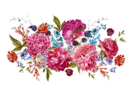 and bouquet: Saluto botanico carta bouquet floreale con Borgogna Peonie, giacinti, Blackberry e fiori di campo in stile vintage, illustrazione Acquerello su sfondo bianco.