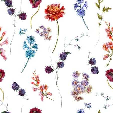 anniversary vintage: Watercolor floral vintage seamless pattern with wildflowers