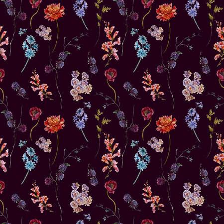 aniversario de boda: Acuarela Modelo inconsútil de la vendimia floral con flores silvestres