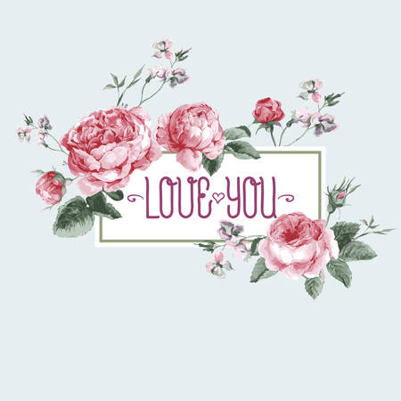 Vintage Watercolor Greeting Card with Blooming English Roses. Love You with Place for Your Text. Vector Illustration Illustration
