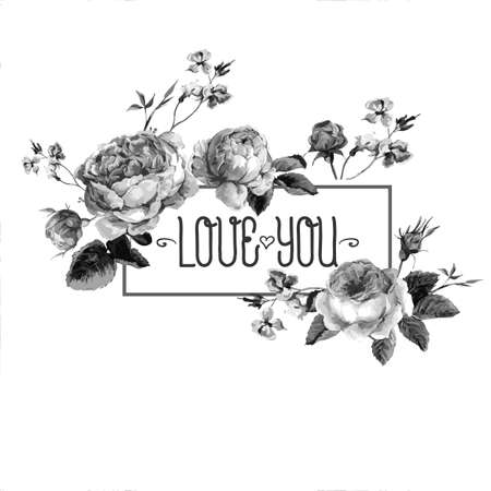 white roses: Black and White Vintage Watercolor Greeting Card with Blooming English Roses. Love You with Place for Your Text. Vector Illustration Illustration