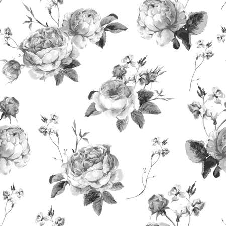 white roses: Black and White Vintage Floral Seamless Background with Blooming English Roses, Vector watercolor Illustration
