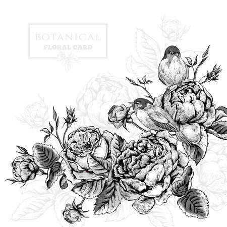english: Black and white botanical floral card in vintage style with blooming english roses and birds, vector illustration