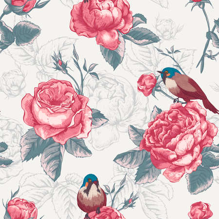 shabby: Botanical floral seamless pattern in vintage style with blooming english roses and birds, vector illustration