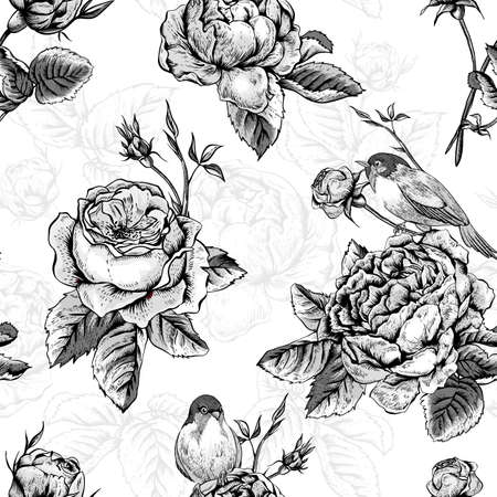 english rose: Black and White Vintage Floral Seamless Background with Blooming English Roses, Vector Illustration