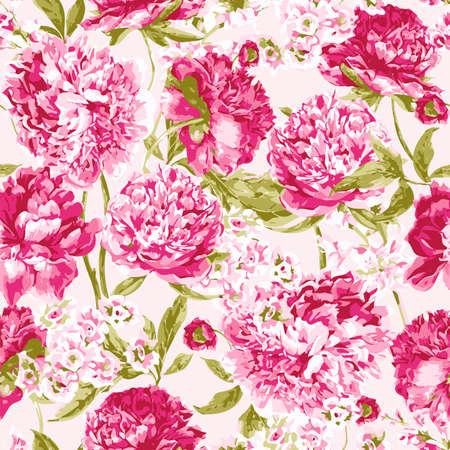 분홍색 모란 원활한 패턴, 벡터 일러스트 레이 션 흰색 배경에 일러스트