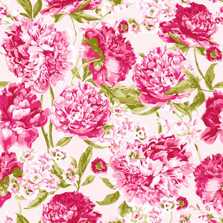Seamless Pattern with Pink Peonies, Vector Illustration on a White Background Ilustracja