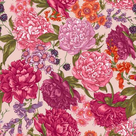 모란, 블랙 베리와 빈티지 스타일의 야생 꽃, 식물 인사말 카드와 꽃 원활한 패턴