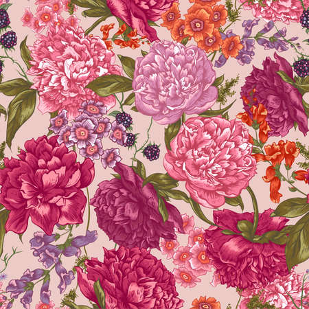 Floral Seamless Pattern with Peonies, Blackberry and Wild Flowers in Vintage Style, Botanical Greeting Card