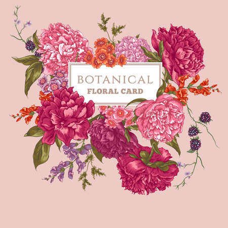 Beautiful Vintage Floral Greeting Card with Blooming Peonies, Vector Illustration