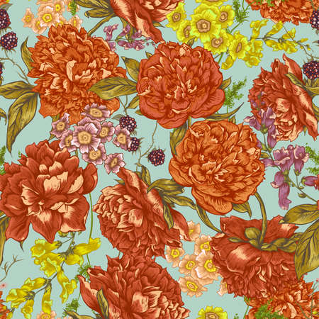 love card: Floral Seamless Pattern with Peonies, Blackberry and Wild Flowers in Vintage Style, Botanical Greeting Card