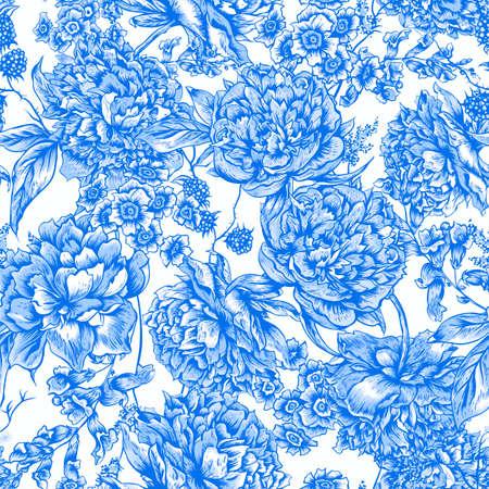 eleganz: Blau Floral nahtlose Muster mit Pfingstrosen, Blackberry und wilde Blumen im Vintage-Stil, der Botanische Grußkarte