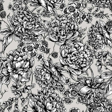 floral vintage: Monochrome Floral Seamless Pattern with Peonies, Blackberry and Wild Flowers in Vintage Style, Botanical Greeting Card