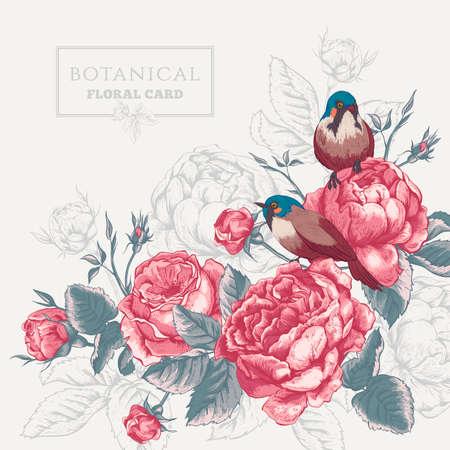 floral: Botanische Blumenkarte im Vintage-Stil mit blühenden Rosen Englisch und Vögel, Vektor-Illustration auf grauem Hintergrund