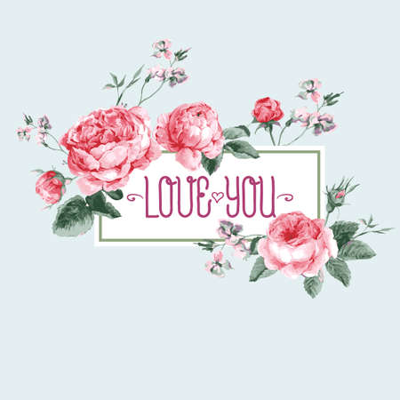 Vintage Watercolor Greeting Card with Blooming English Roses. Love You with Place for Your Text. Vector Illustration Ilustrace