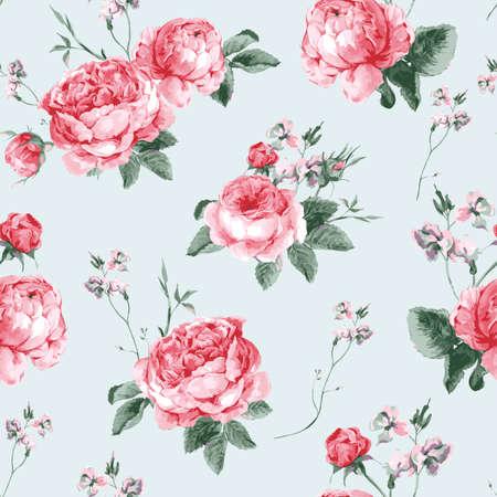 葡萄收穫期: 復古花卉無縫背景,盛開英國玫瑰,矢量水彩插圖