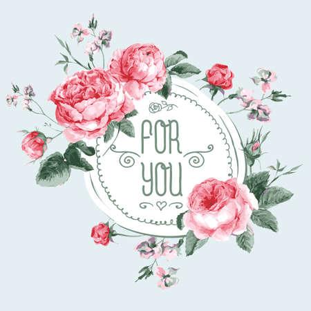 Vintage waterverf Ronde Frame met Blooming Engels Roses. For You met plaats voor uw tekst. Vector Illustratie
