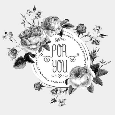 Marco blanco y negro de la vendimia de la acuarela redondo con Blooming Rosas inglesas. Para usted con lugar para el texto. Ilustración vectorial Foto de archivo - 44148001