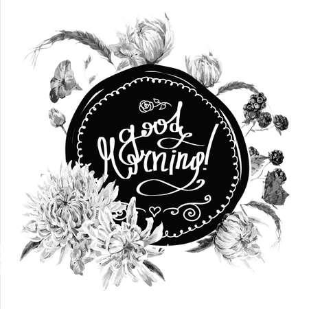 blanco y negro: Marco negro y redondo floral Blanco vintage con el ramo de crisantemos, flores silvestres y mariposas. Vector acuarela Ilustraci�n, buenos d�as Vectores