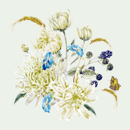 ramo de flores: Tarjeta floral de la vendimia con el ramo de crisantemos, flores silvestres y mariposas. Vector acuarela Ilustración con lugar para el texto