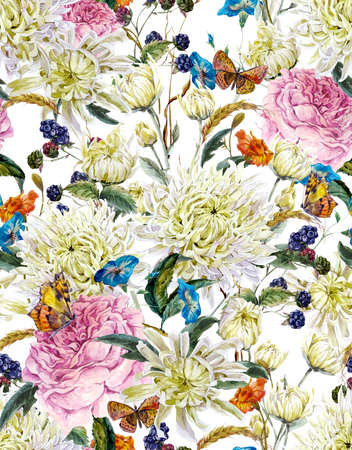 fall in love: Vintage Watercolor Floral Seamless Background  with Chrysanthemums, Roses, Wild Flowers and Butterflies. Watercolor Illustration