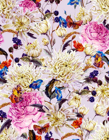 Vintage Watercolor Floral Seamless Background  with Chrysanthemums, Roses, Wild Flowers and Butterflies. Watercolor Illustration